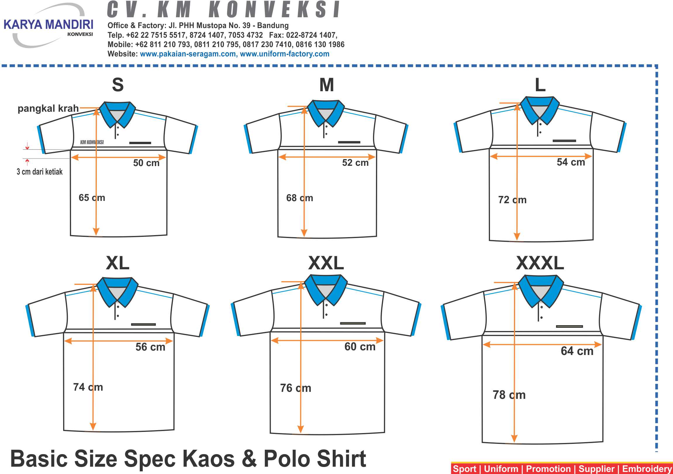 Size Spec Kaos & Polo Shirt